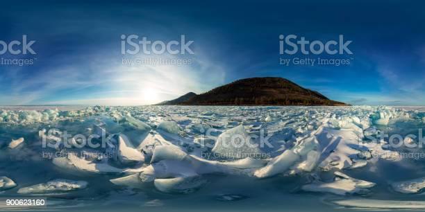 Blue hummocks of ice baikal at sunset at olkhon spherical vr 360 180 picture id900623160?b=1&k=6&m=900623160&s=612x612&h=xajyazsuzfp ryvcxwvykqoonrdoki60xdxbsvn0t5a=