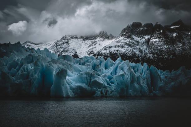 Blue Ice at Grey Glacier stock photo