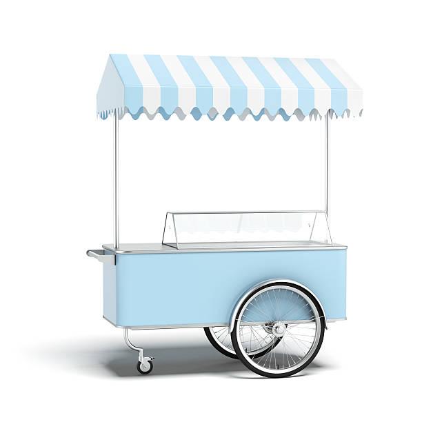 Blue ice cream cart stock photo