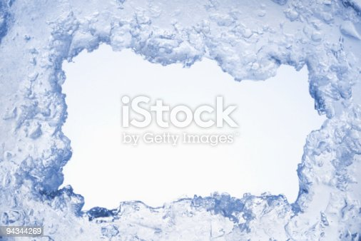 istock Blue ice framing blank pale blue background 94344269