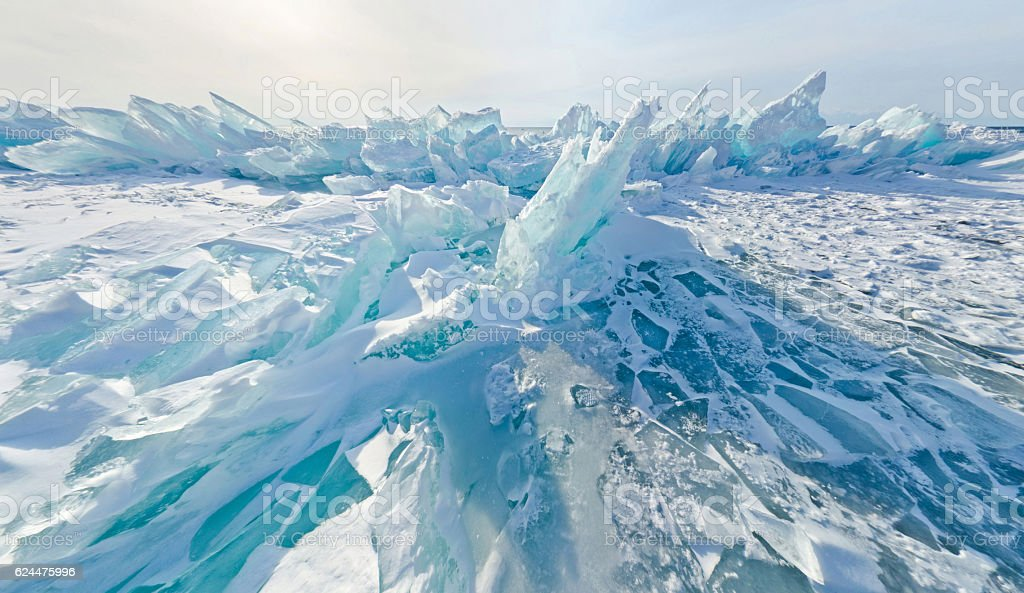 Blue ice hummocks Baikal stereographic panorama, Listvyanka stock photo