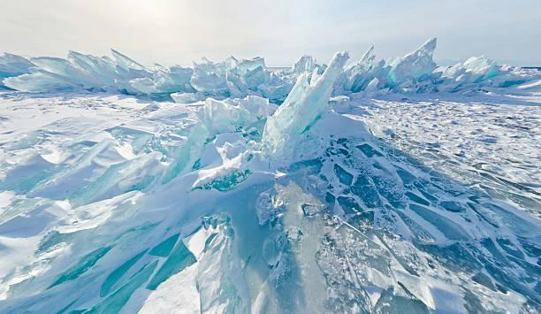 Blue ice hummocks Baikal stereographic panorama, Listvyanka stock photo