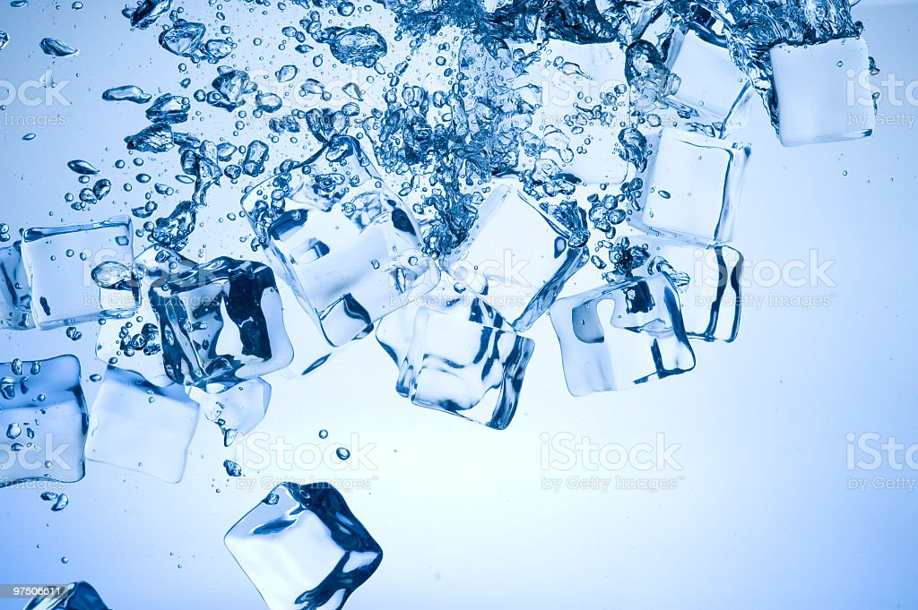 Blue ice in water royalty-free stock photo