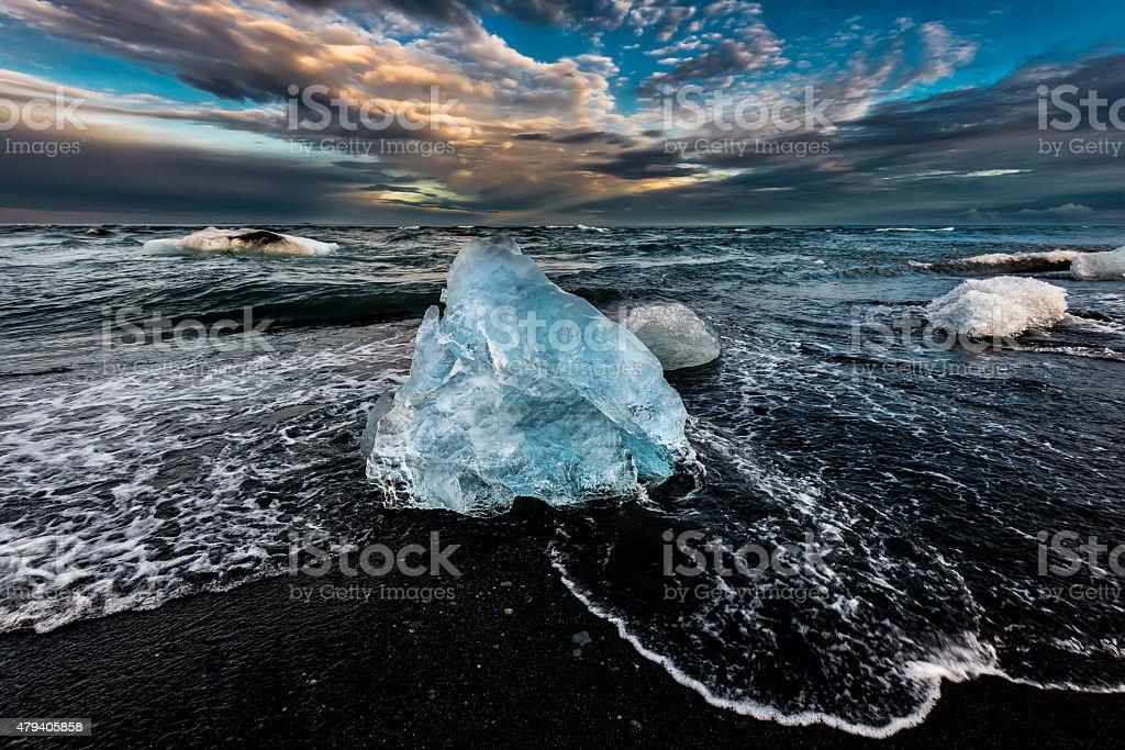 Blue Ice Jewel Jokulsarlon Iceland Black Sand Beach stock photo