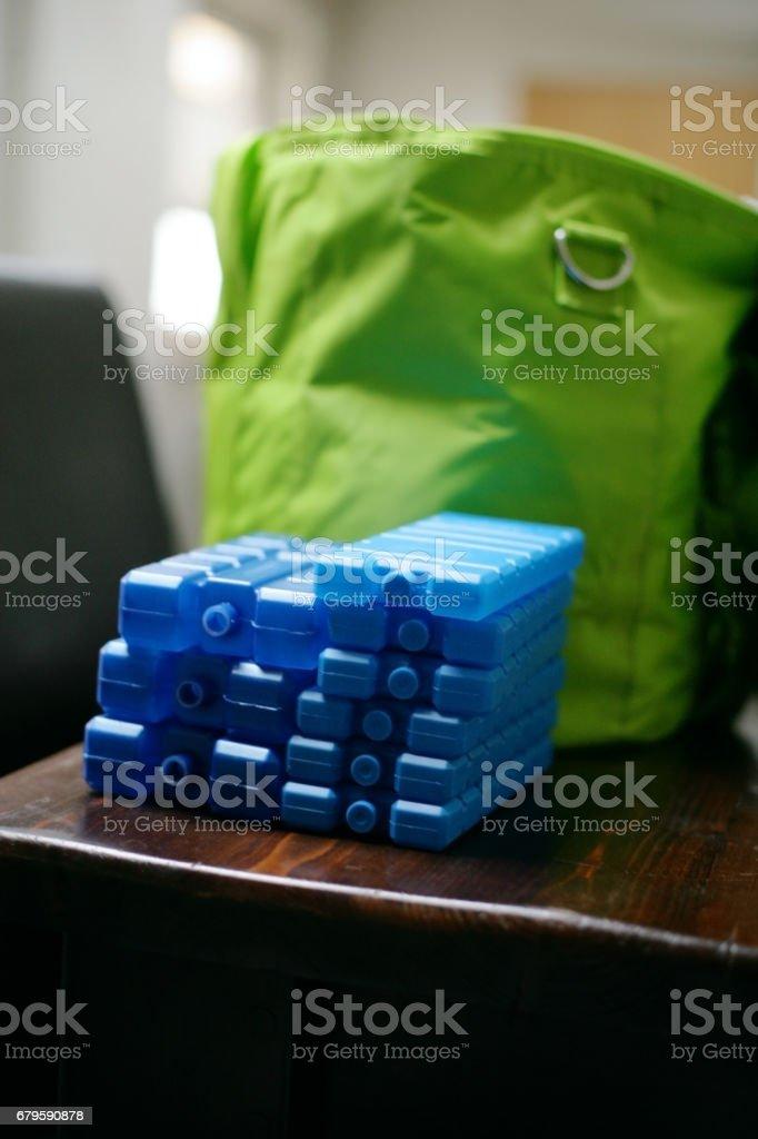 Blue ice packs stock photo