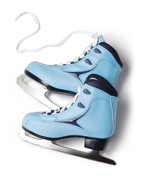 Blue ice skates stock photo