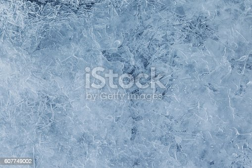 Texture ice surface of a mountain river close up, abstract winter background