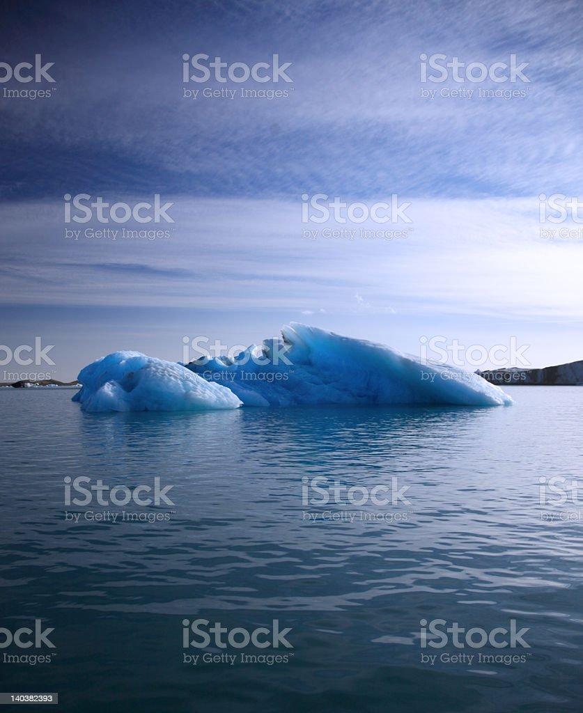 Blue Iceberg floating on Jokulsarlon lagoon, Iceland royalty-free stock photo
