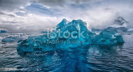 Blue iceberg in off the coast of Antarctica