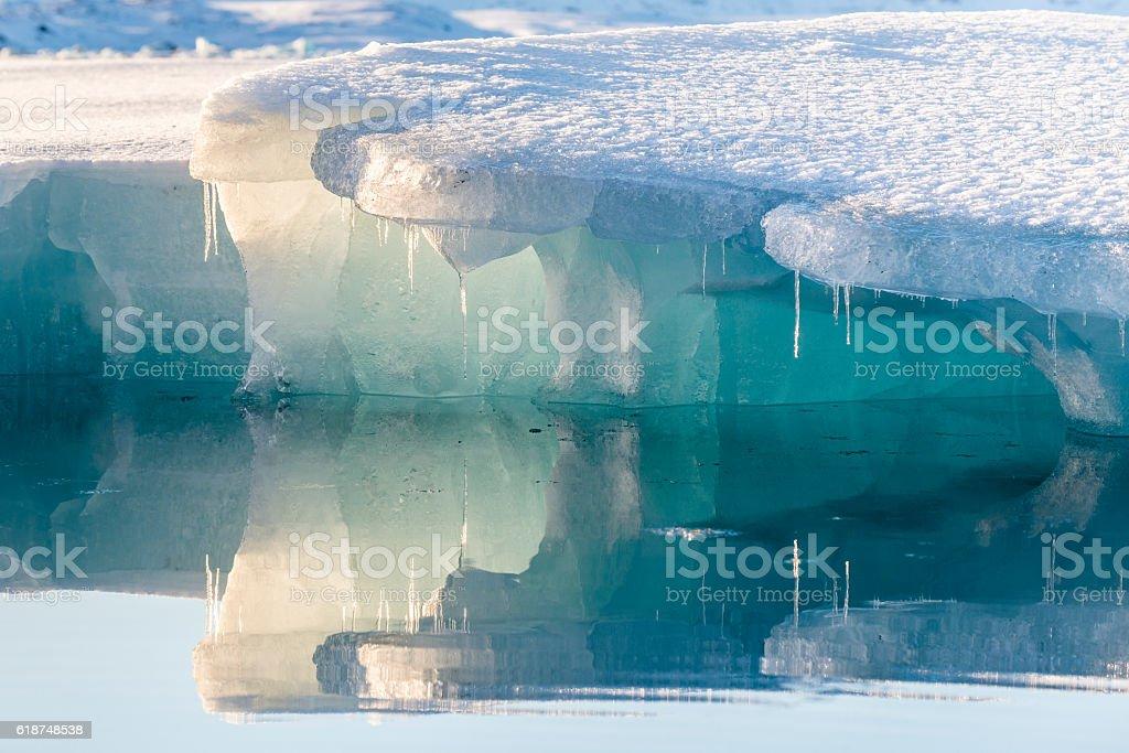 Blue icebergs at Jokulsarlon Glacial Lagoon. Iceland. Winter. stock photo