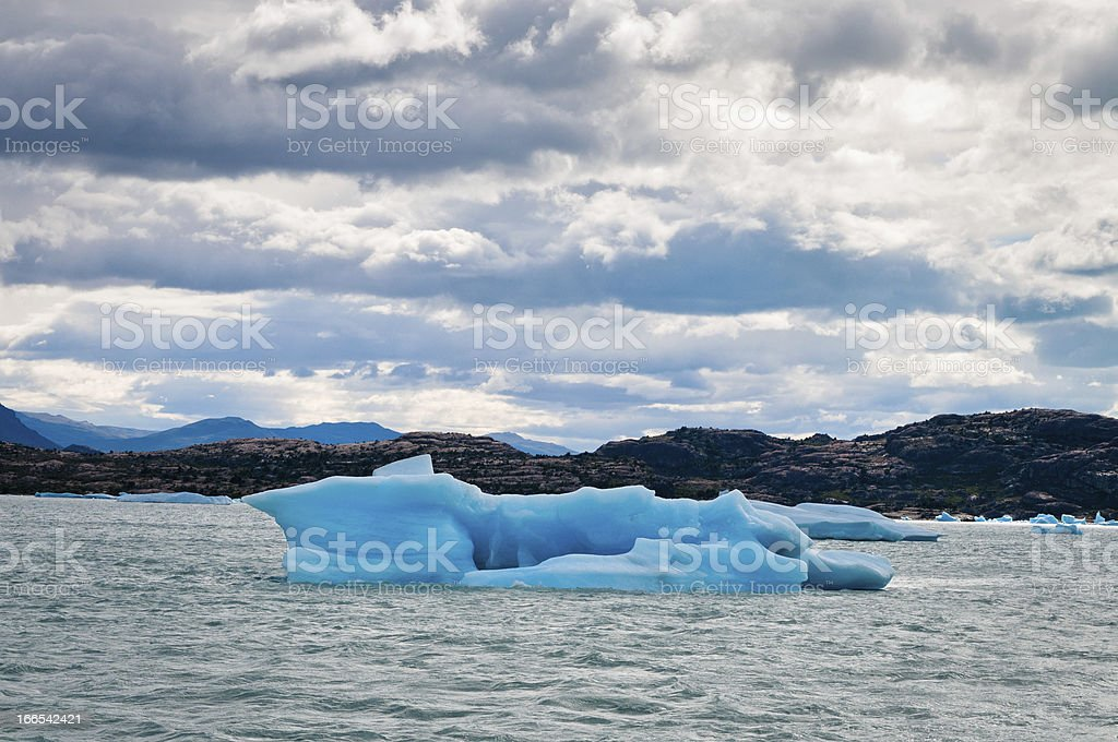 Blue icebergs floating on Lake Argentina, Patagonia royalty-free stock photo