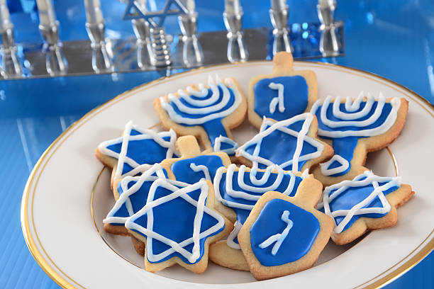 Blue iced cookies for Hanukkah stock photo