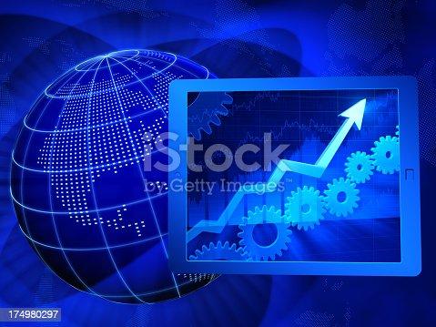 istock Blue icons representing business progress 174980297