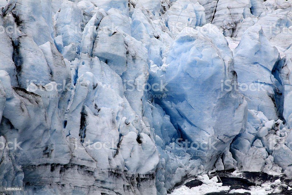 Blue Icy Portage Glacier Crevaces Alaska stock photo