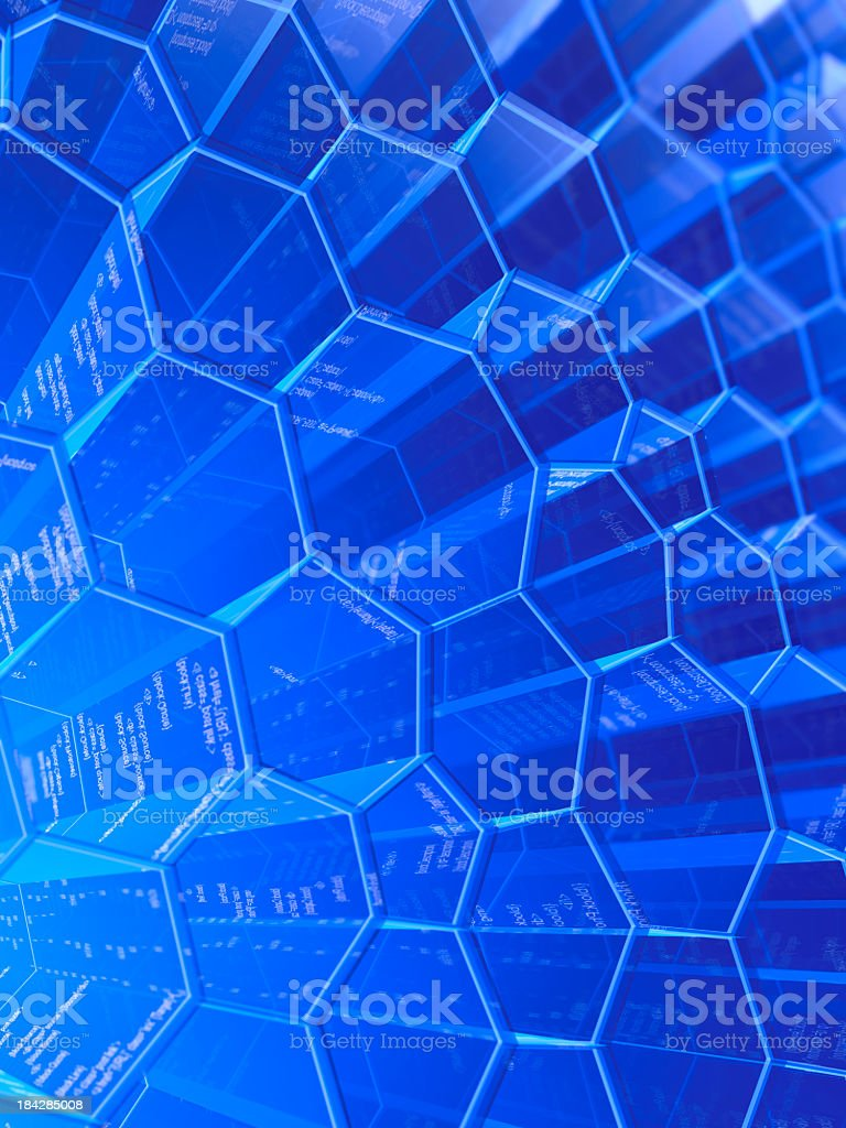 Blue illustrated honeycomb structure stock photo