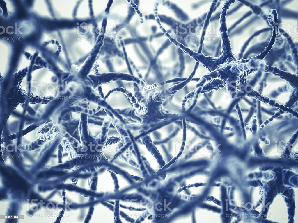Blue image of neurons in the brain on white background royalty-free stock photo