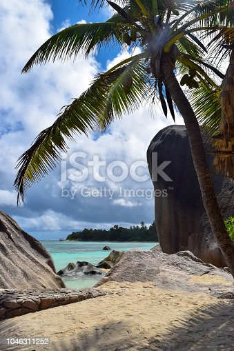 Blue Indian ocean, palm trees and autentical Seychelles rocks in Anse Source D'Argent beach in La Digue island