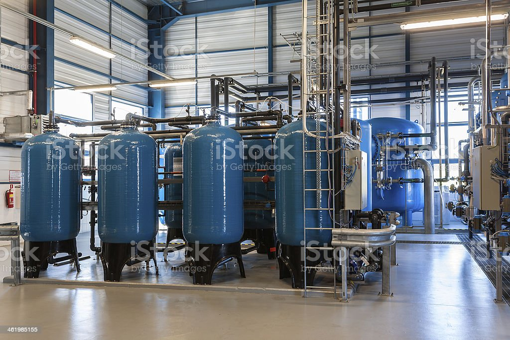 Blue industrial water filters in the plant stock photo