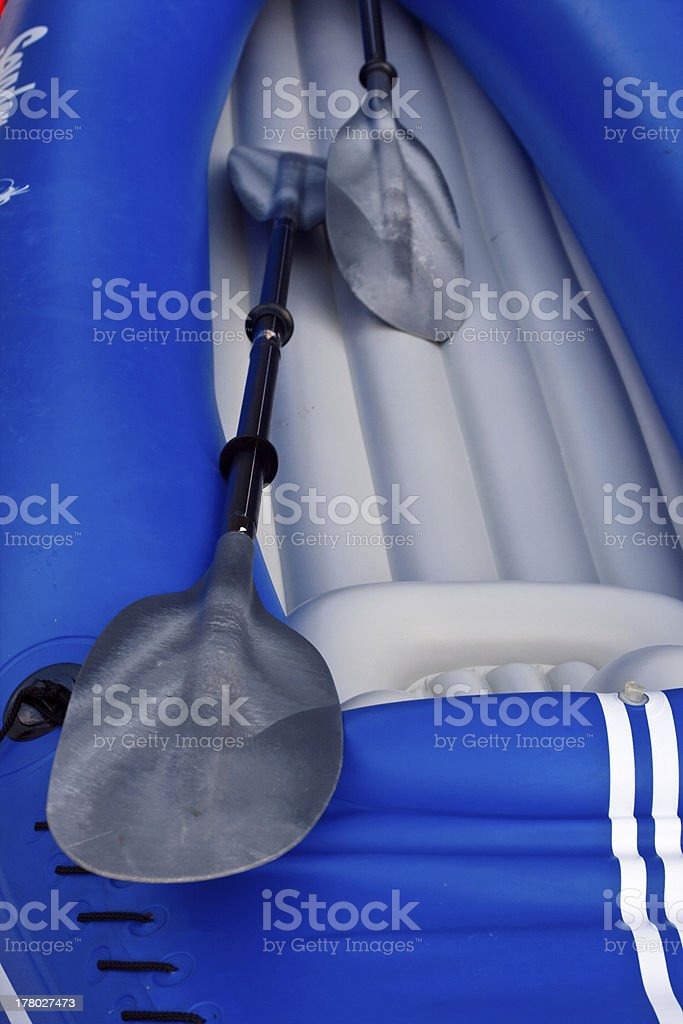 Blue inflatable boat royalty-free stock photo