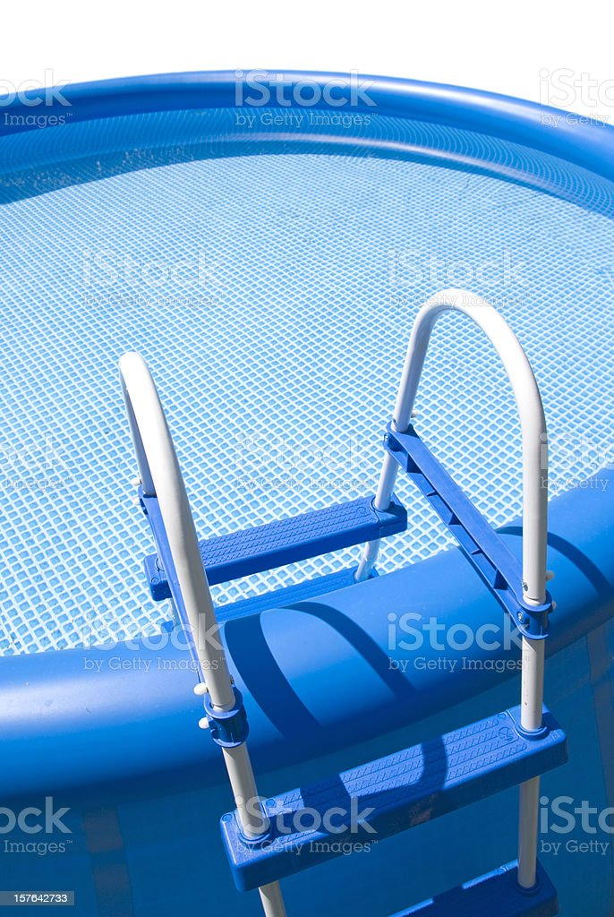 Blue Inflatable pool with steps stock photo