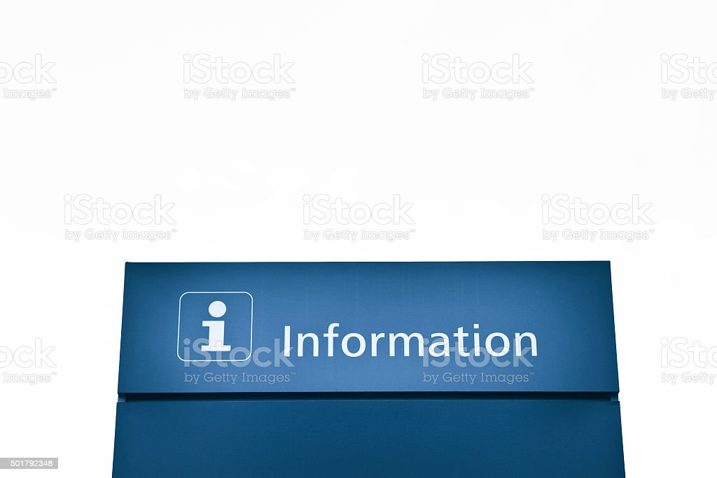 Blue information sign stock photo