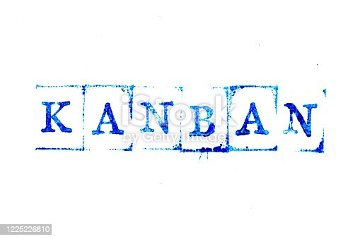 1144568493 istock photo Blue ink of rubber stamp in word kanban on white paper background 1225226810