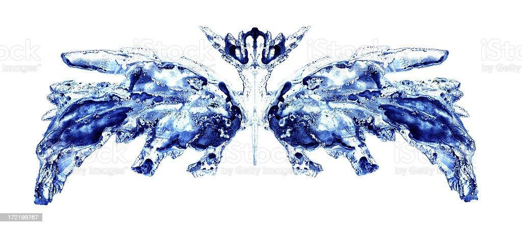 blue inkblot Rorschach Test inspired royalty-free stock photo