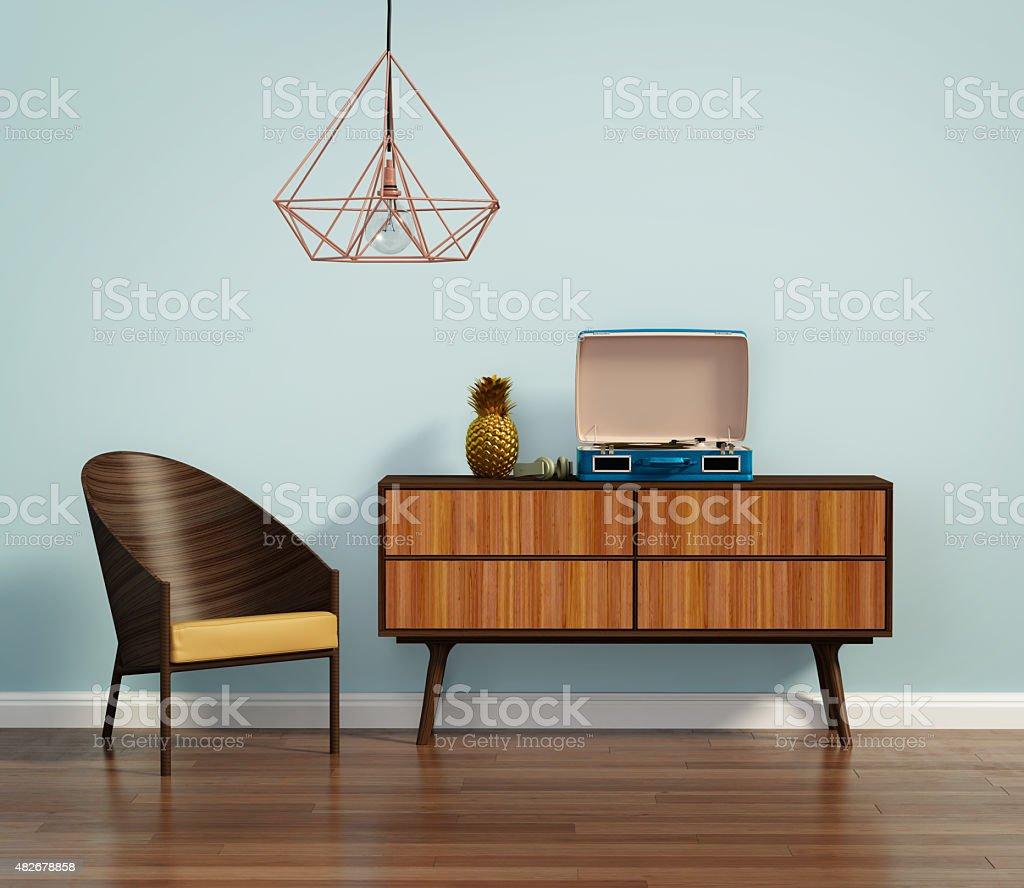 Blaue innen mit mid-century Stuhl und buffet – Foto