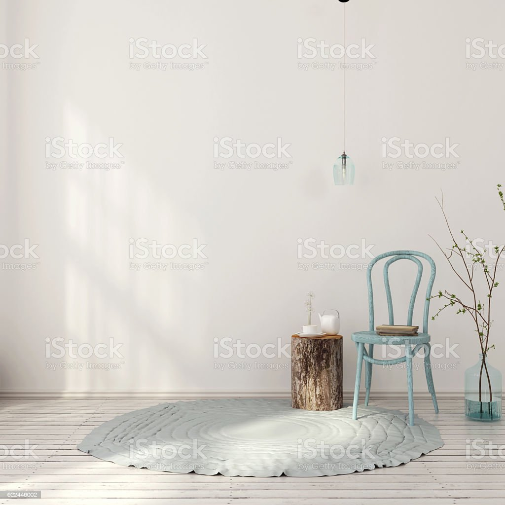 Blue interior with vintage chair stock photo