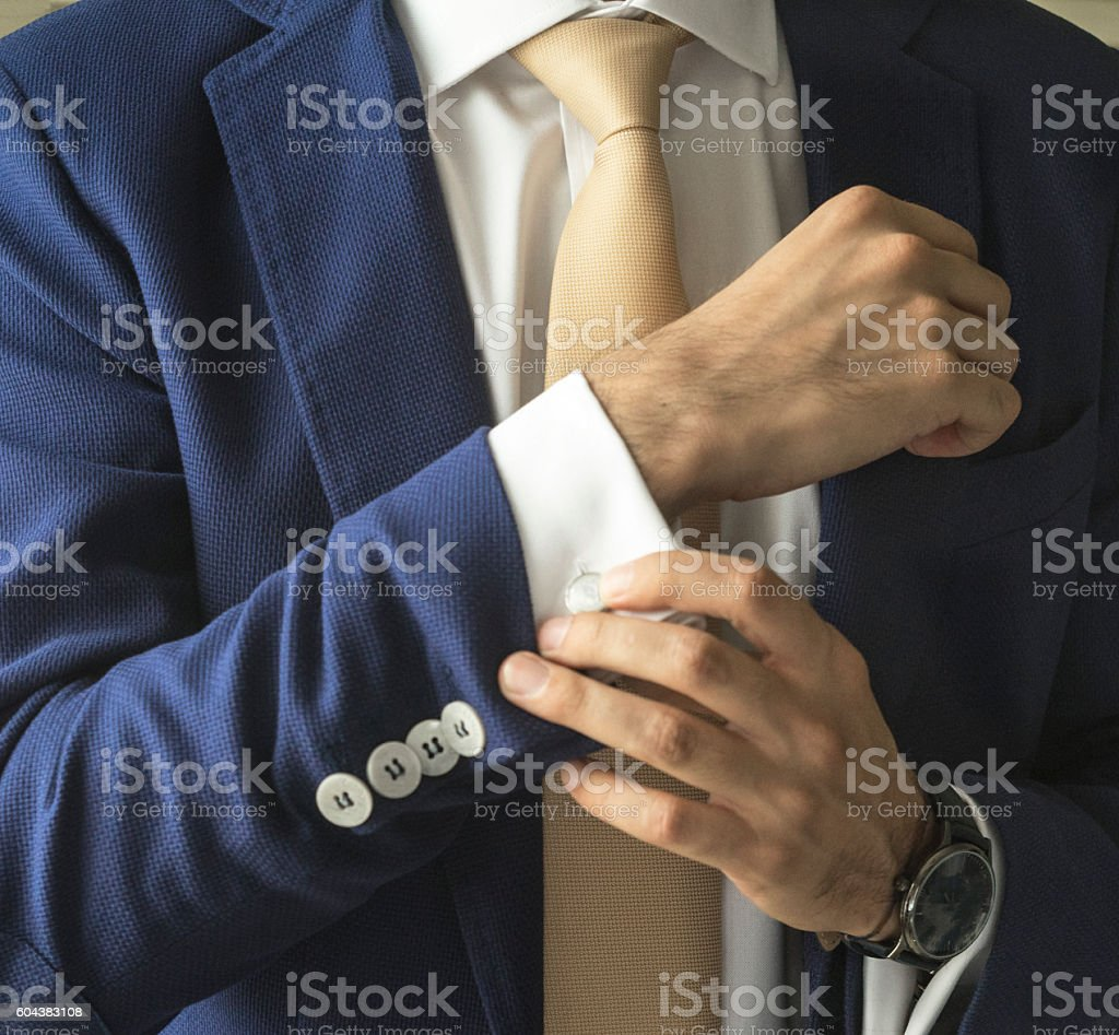 blue jacket stock photo