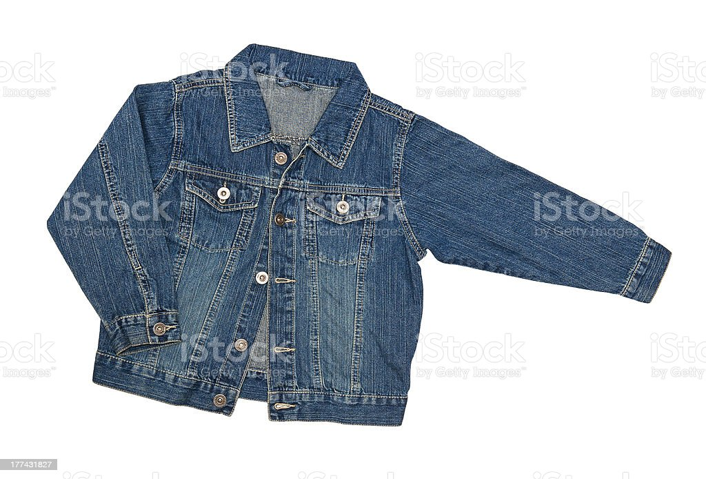 A blue jean jacket with extended arm on a white background stock photo