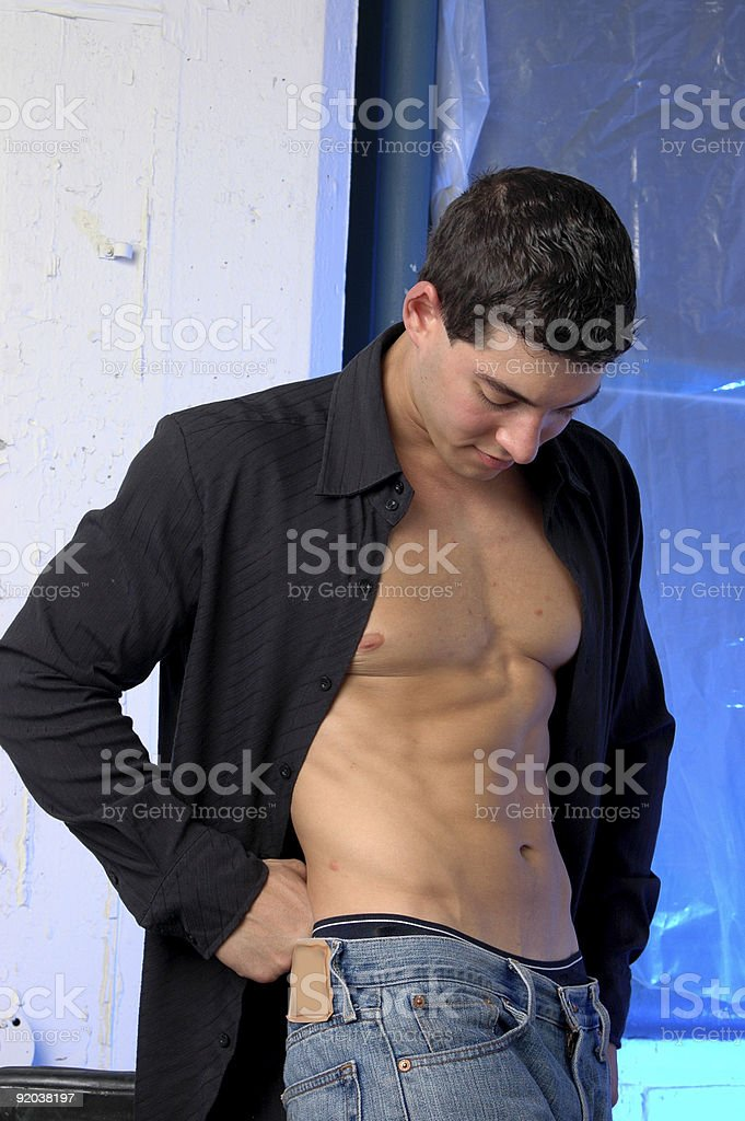 blue jean male in black shirt stock photo