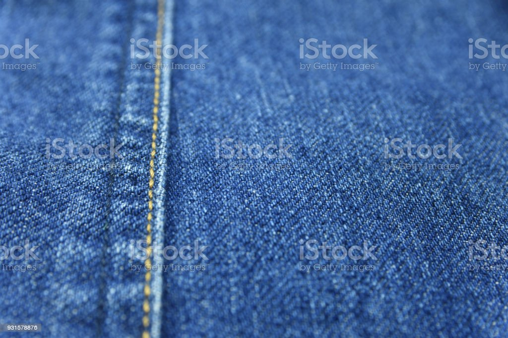 Blue jean texture background with seam decoration thread layer stock photo