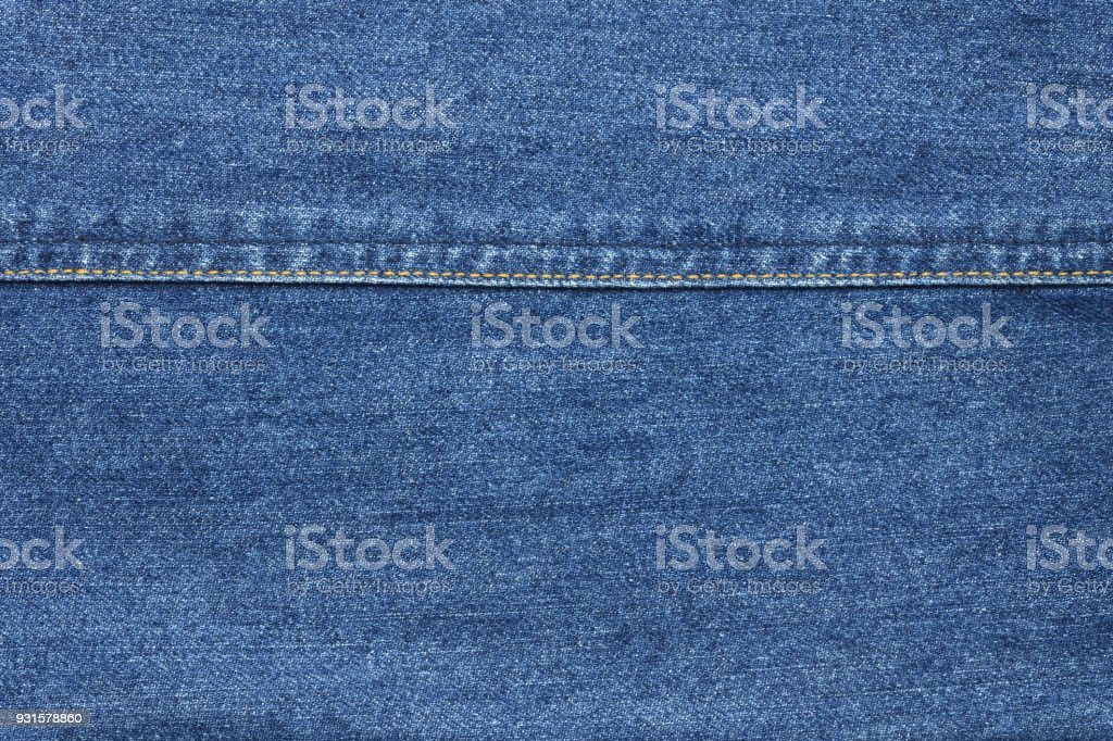 Blue jean texture background with seam thread layer stock photo