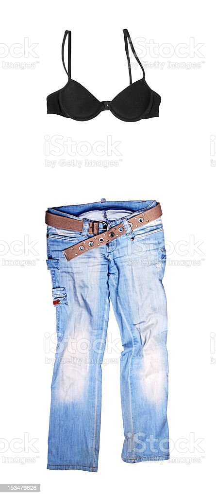 Blue jeans and black bodice royalty-free stock photo