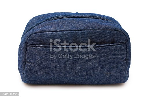 509923232istockphoto blue jeans bag isolated on white background 842149226