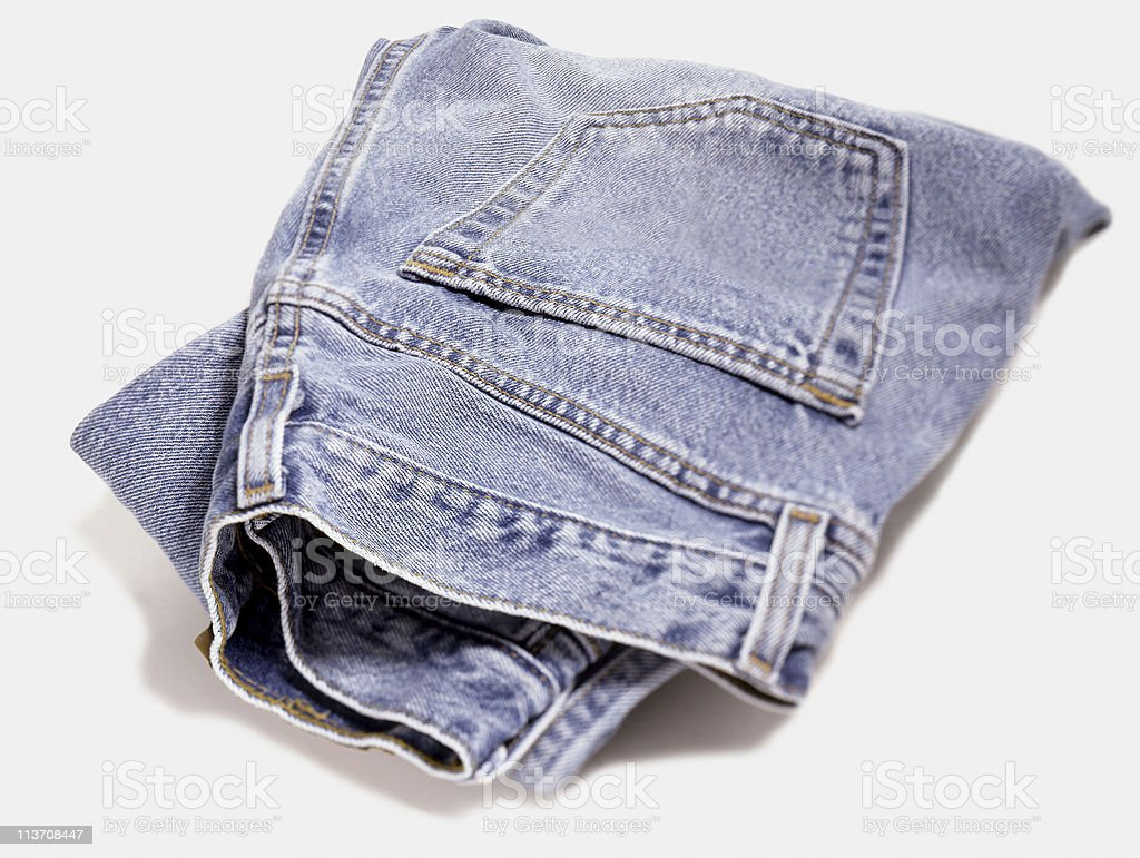 blue jeans cut out on white stock photo