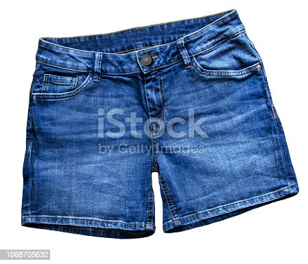 Short Blue Jeans Fashion  against white background