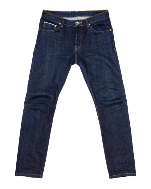 藍色牛仔褲孤立在白色背景 (前面) - 牛仔褲 個照片及圖片檔