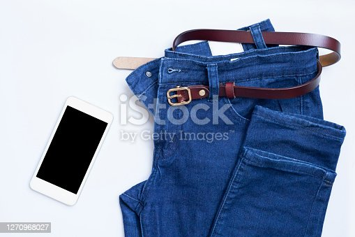 Jeans, Denim, Folded, Pants, Directly Above, Flat lay - Top view, Smart phone