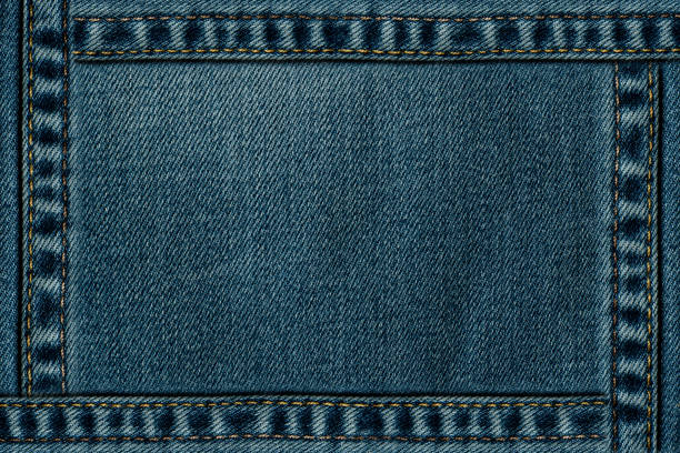 Blue Jeans texture with seam frame stock photo