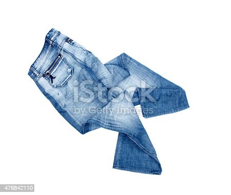 Blue jeans trouser isolated on the white background