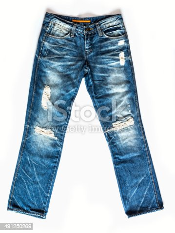 Blue jeans trouser isolated on the white background / studio shot
