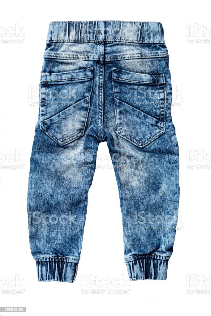 d0afbb84d Pantalón de jeans azul aislado sobre fondo blanco. Jeans de moda para niño  niño.