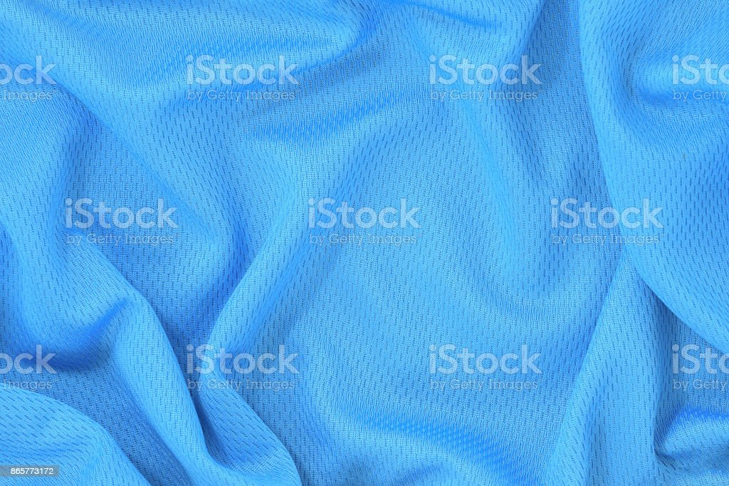 Blue jersey polyester fabric texture background, sports wear background. stock photo