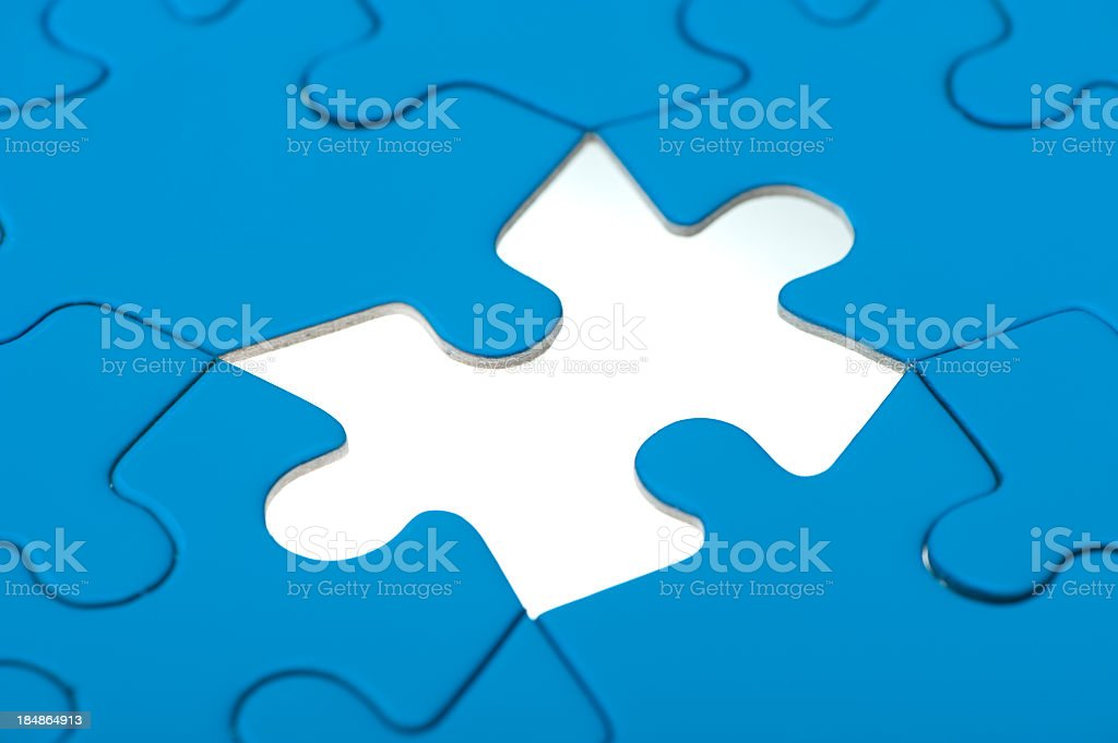 Blue jigsaw puzzle royalty-free stock photo