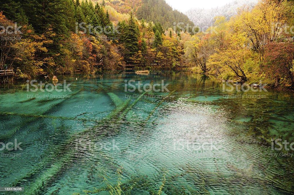 Blue Jiuzhaigou Lake, Sichuan, China stock photo