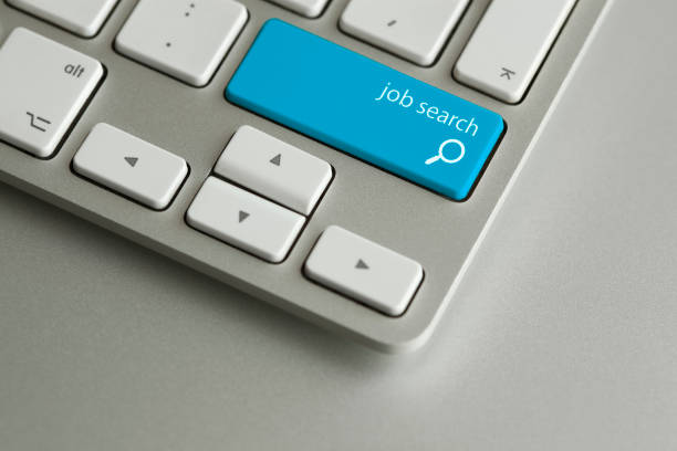 blue job search button - job search stock photos and pictures