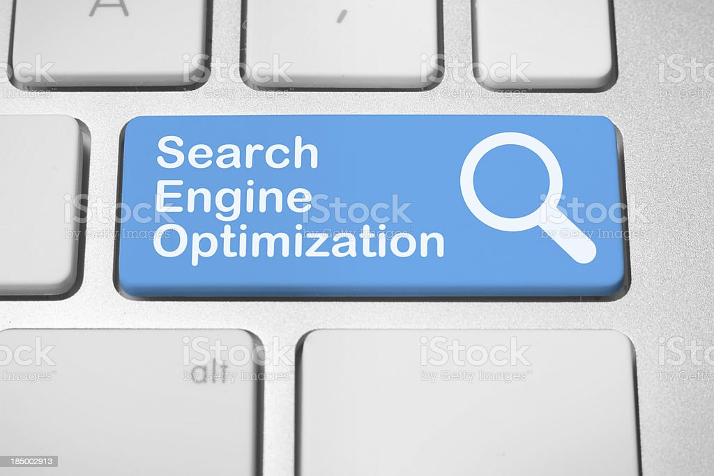 Blue keyboard button for search engine optimization royalty-free stock photo