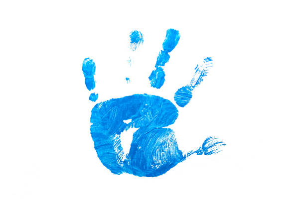 Blue kid hand print on white isolated stock photo